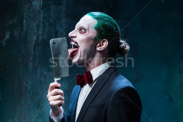 Bloody Halloween theme: crazy joker face Stock photo © master1305