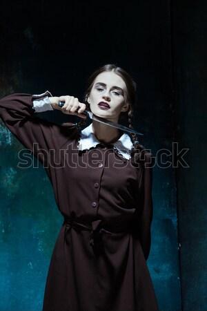 Halloween őrült lány kígyók portré fiatal lány Stock fotó © master1305