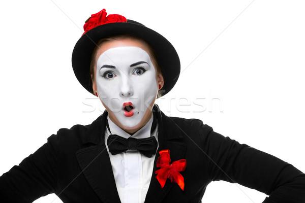 Portré meglepődött nyitva száj nő izolált Stock fotó © master1305