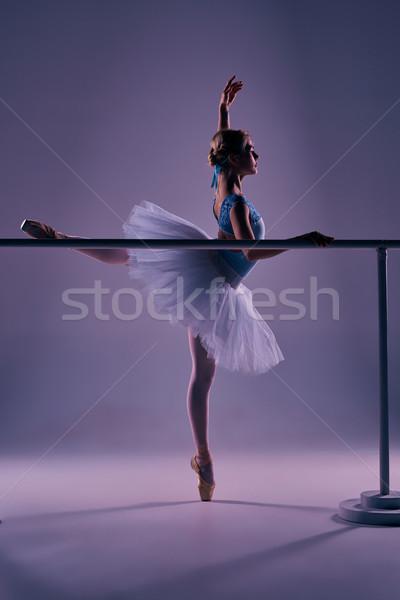 classic ballerina posing at ballet barre Stock photo © master1305