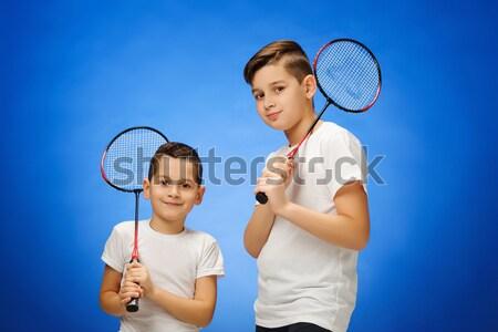Dwa chłopców badminton odkryty stałego niebieski Zdjęcia stock © master1305