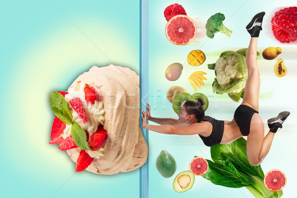 The collage of young beautiful woman with healthy and harmful meal Stock photo © master1305