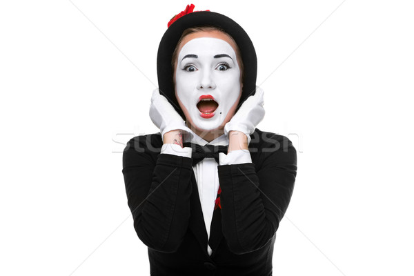 Portrait of the surprised mime Stock photo © master1305