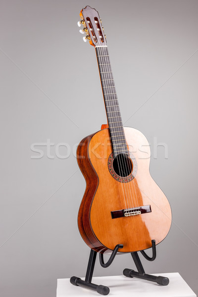 Isolated on gray acoustic guitar Stock photo © master1305