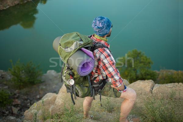 Сток-фото: молодые · кавказский · человека · рюкзак · Top · холме
