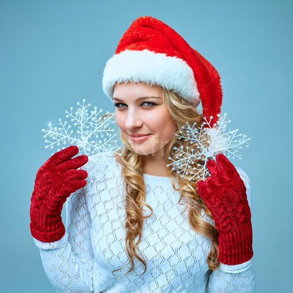 Belo mulher jovem papai noel roupa flocos de neve azul Foto stock © master1305