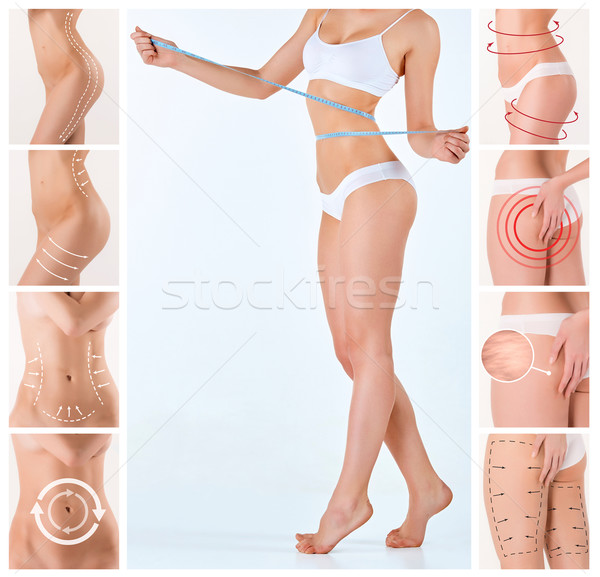 Collage of female body with the drawing arrows Stock photo © master1305
