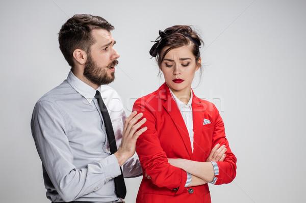 Zakenman vrouw communiceren grijs grappig zakelijke relatie Stockfoto © master1305