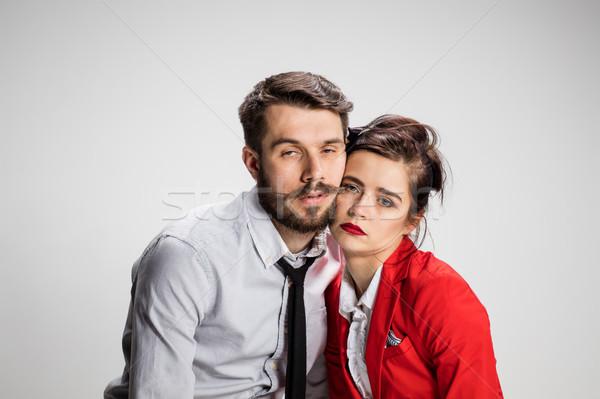 épuisé homme d'affaires femme gris main homme Photo stock © master1305