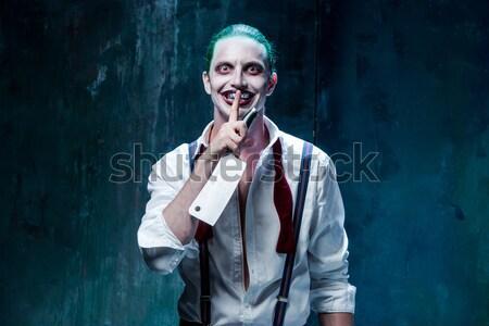 Bloody Halloween theme: crazy killer as butcher Stock photo © master1305
