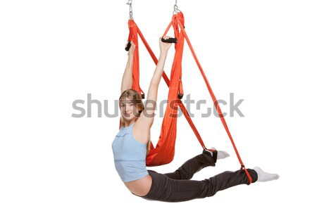 Young woman making antigravity yoga exercises in stretching twine Stock photo © master1305