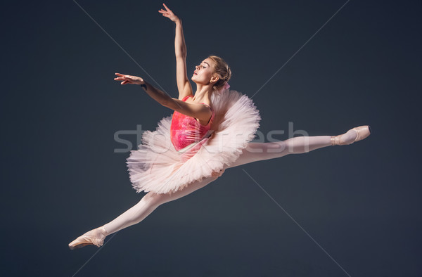 Beautiful female ballet dancer on a grey background. Ballerina is wearing  pink tutu and pointe shoe Stock photo © master1305