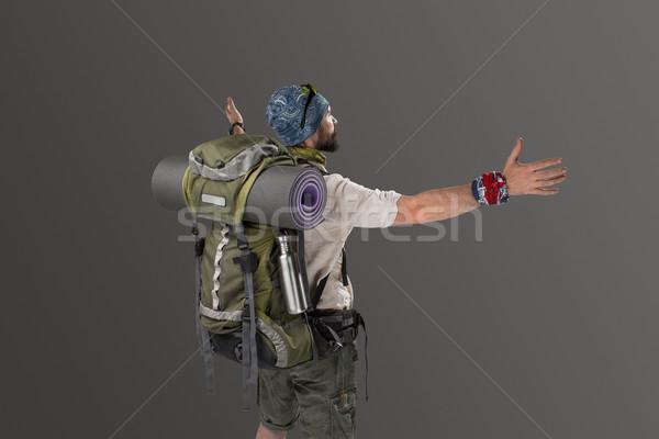 вид сзади мужчины туристических рюкзак камеры серый Сток-фото © master1305