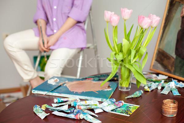 Palet handen kunstenaar papier school Stockfoto © master1305