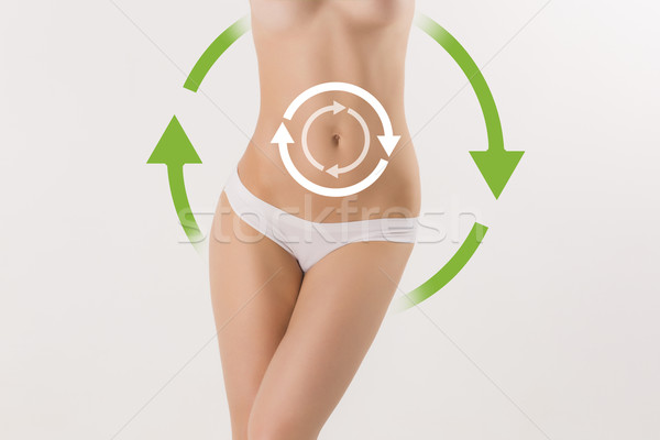 Women belly with the drawing arrows  Stock photo © master1305