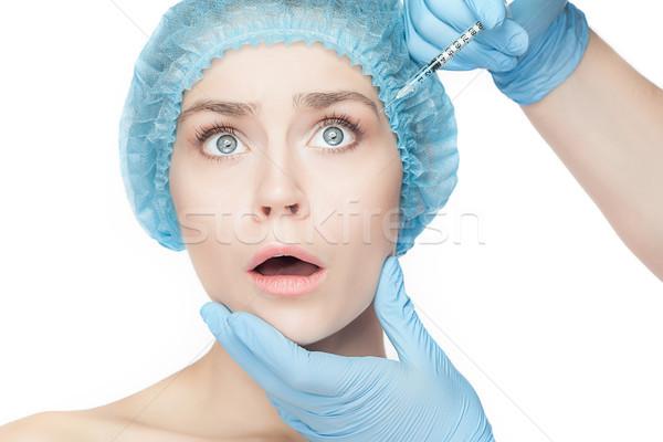 Vonzó nő plasztikai sebészet injekciós tű arc vonzó meglepődött Stock fotó © master1305