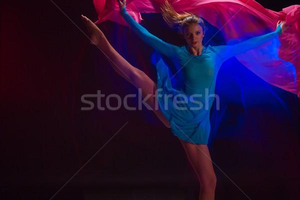 The art photo-emotional dance of beautiful blue woman Stock photo © master1305