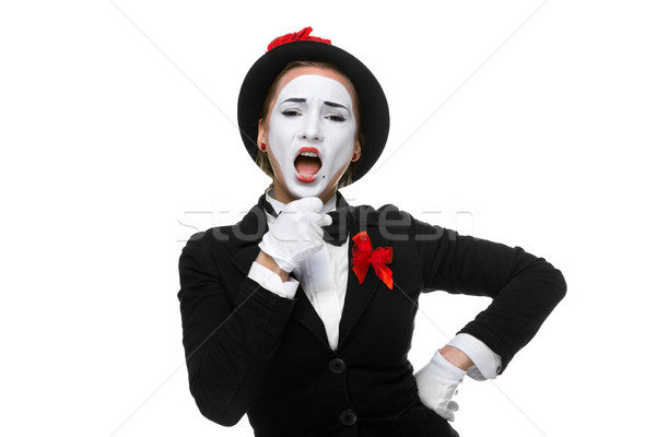 Portrait of the singing mime with open mouth Stock photo © master1305