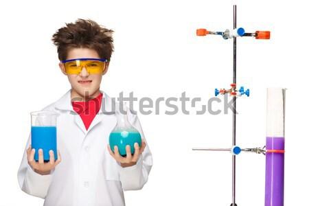 Mały chłopca chemik eksperyment chemicznych płyn Zdjęcia stock © master1305