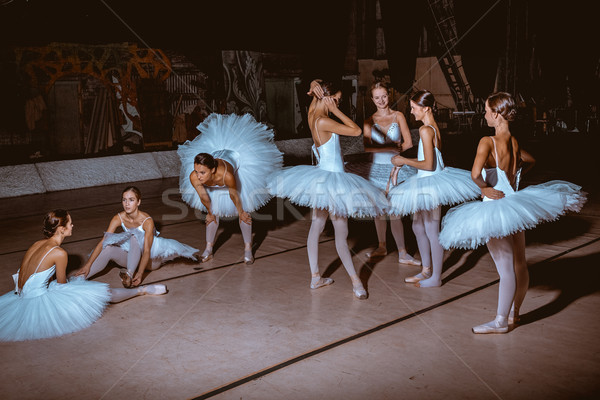 The seven ballerinas behind the scenes of theater Stock photo © master1305