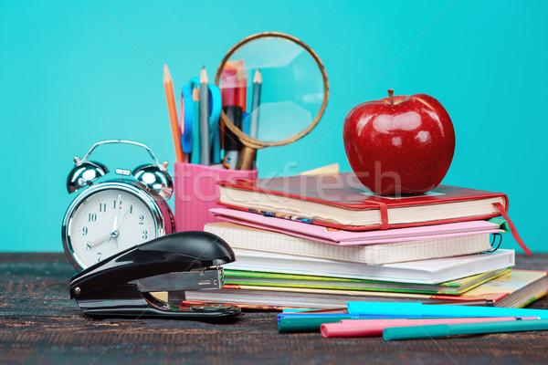 Vissza az iskolába könyvek színes ceruzák óra kék Stock fotó © master1305