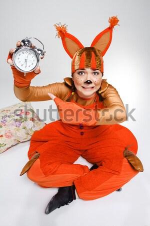 Młoda kobieta obraz czerwony wiewiórki horror patrząc Zdjęcia stock © master1305