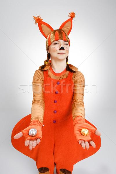 Fiatal nő kép piros mókus sütik iskola Stock fotó © master1305