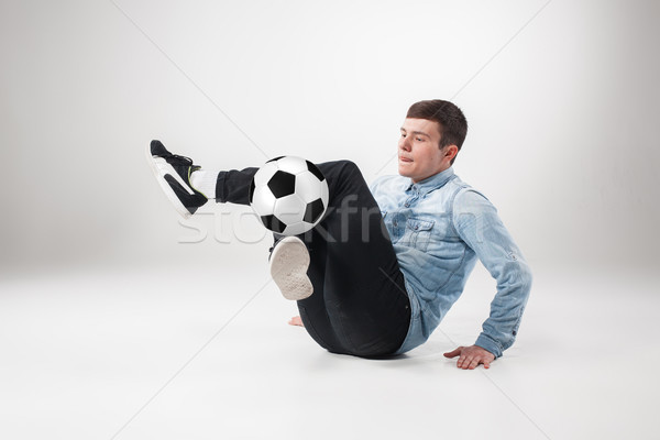 Retrato ventilador pelota gris deporte casa Foto stock © master1305