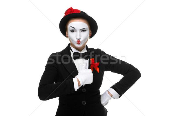 Stock foto: Porträt · überrascht · freudige · Frau · isoliert · weiß