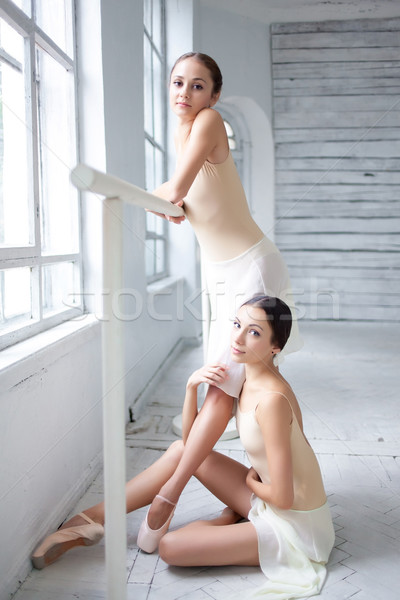 The two classic ballet dancers posing at barre Stock photo © master1305