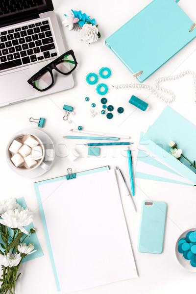 Natürmort moda kadın mavi nesneler beyaz Stok fotoğraf © master1305