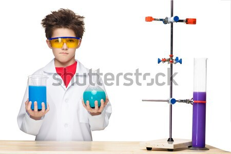 Pequeno menino químico experiência químico fluido Foto stock © master1305