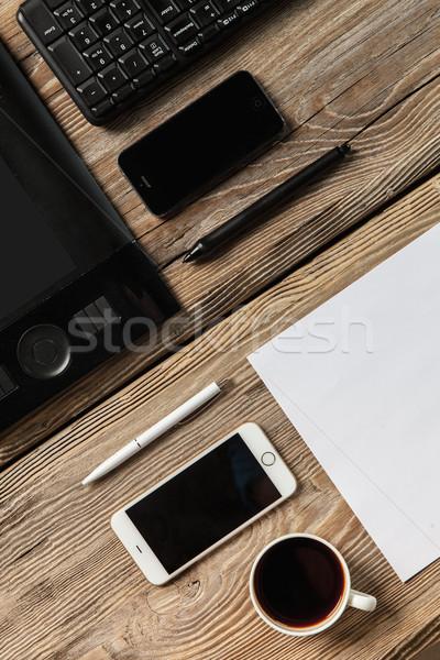 Duyarlı dizayn ahşap bilgisayar ofis Stok fotoğraf © master1305