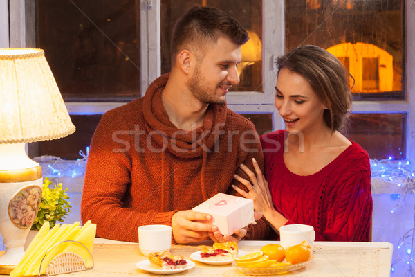 Stock photo: Portrait of romantic couple at Valentine's Day dinner