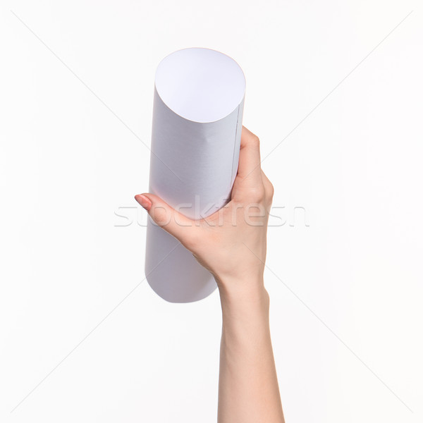 The cylinder female hands on white background Stock photo © master1305