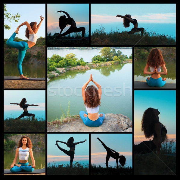 Foto stock: Collage · siluetas · yoga · puesta · de · sol