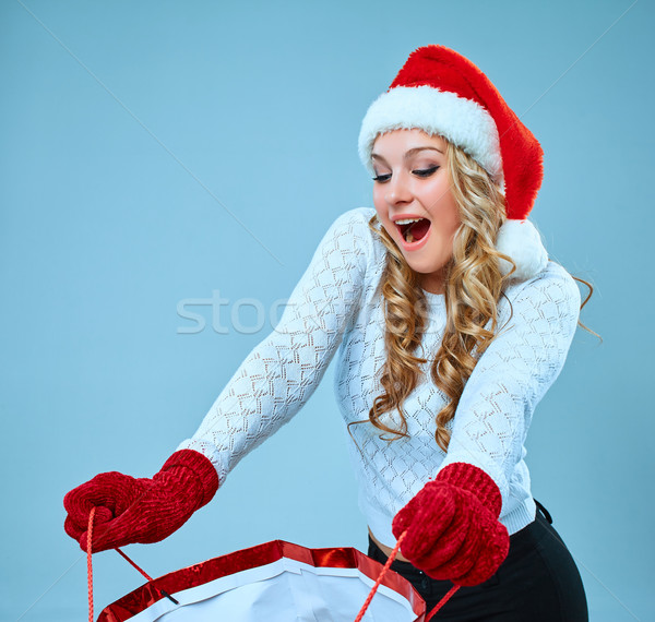 Beautiful young woman in Santa Claus clothes Stock photo © master1305