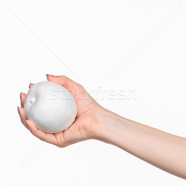 The female hand holding white blank styrofoam oval  Stock photo © master1305