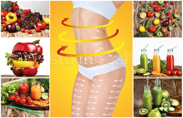 Jeunes saine femme légumes collage vert Photo stock © master1305