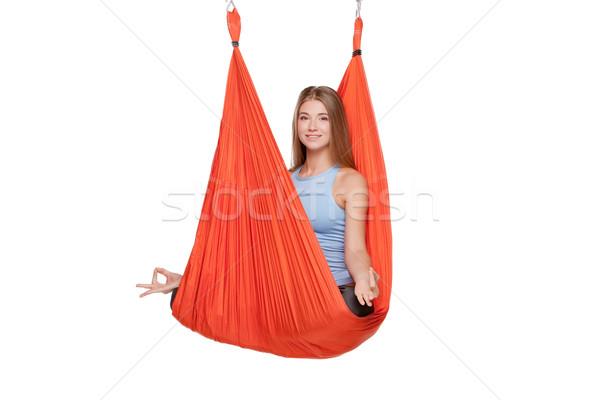 Genç kadın yoga kırmızı hamak Stok fotoğraf © master1305