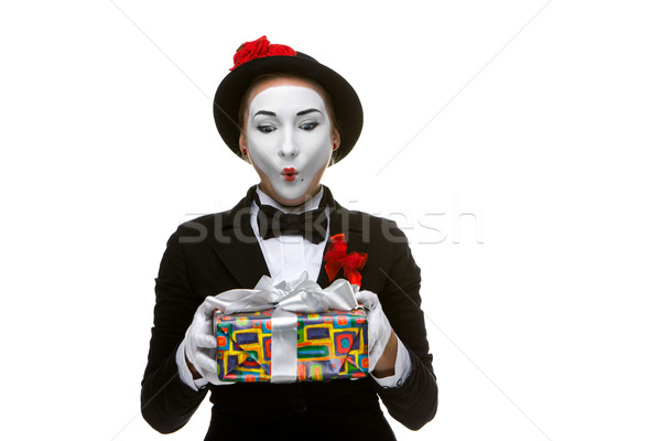 Mime as playful, joyful and excited woman with gift  Stock photo © master1305