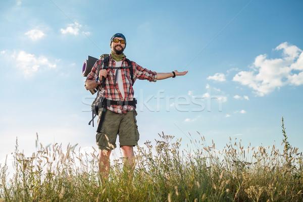 Fiatal kaukázusi férfi hátizsák áll felső Stock fotó © master1305