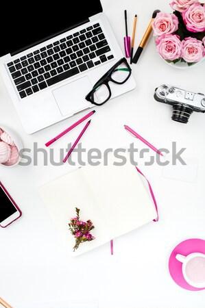Natürmort moda kadın nesneler beyaz üst Stok fotoğraf © master1305