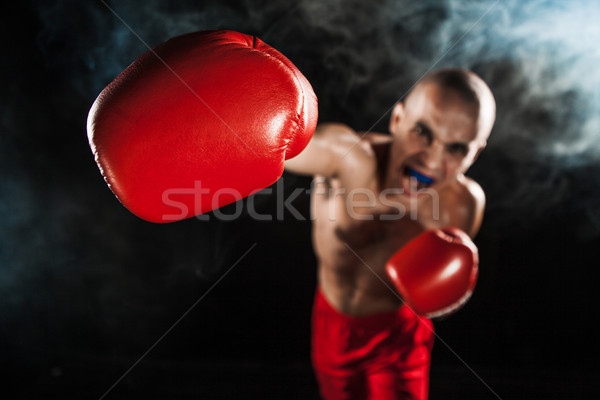 Młody człowiek kickboxing czarny usta młodych mężczyzna Zdjęcia stock © master1305