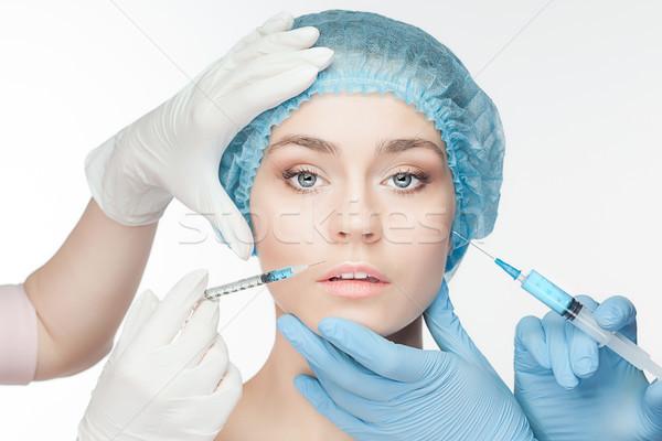 Сток-фото: пластическая · хирургия · шприц · лице · белый · тело