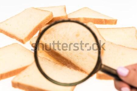 Widoku lupą toast chleba tabeli pszenicy Zdjęcia stock © master1305