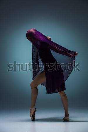 The beautiful ballerina dancing with blue veil Stock photo © master1305