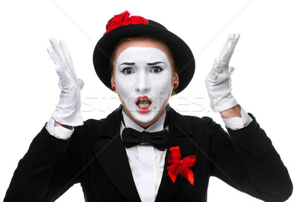 Portret zły kobieta otwarte usta odizolowany Zdjęcia stock © master1305