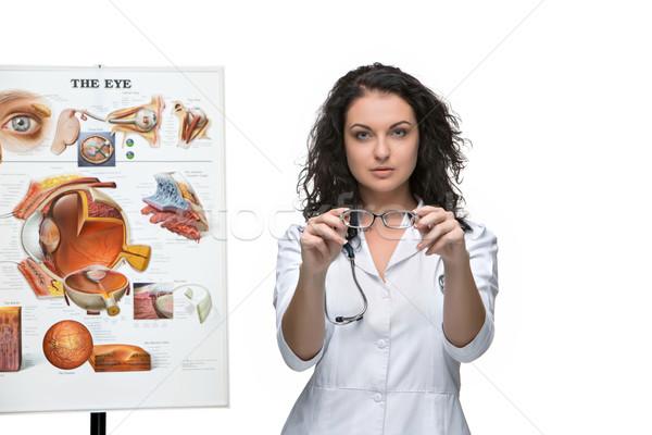 Optikus szemorvos nő pár szemüveg fehér Stock fotó © master1305