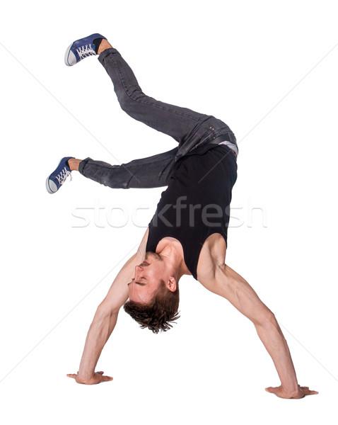 ストックフォト: ブレーク · ダンサー · 逆立ち · 白 · 男 · 行使